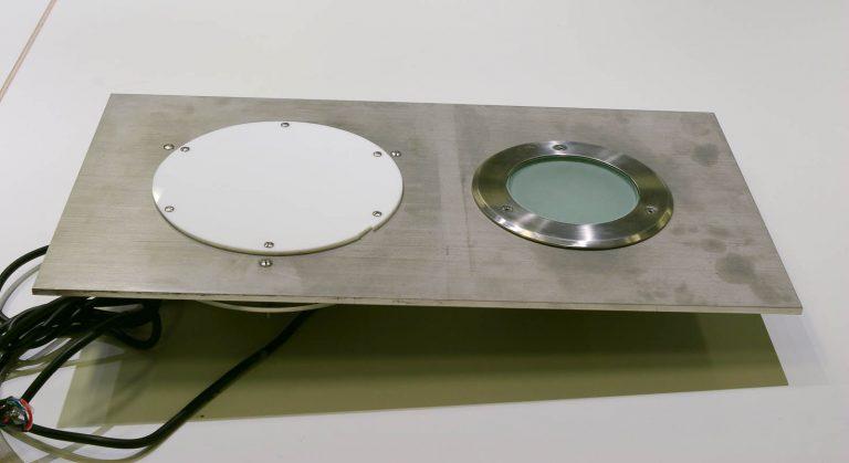 Modell. En av lamporna i en skiva med tillhörande sladd. Markus Lantto, Termonoder