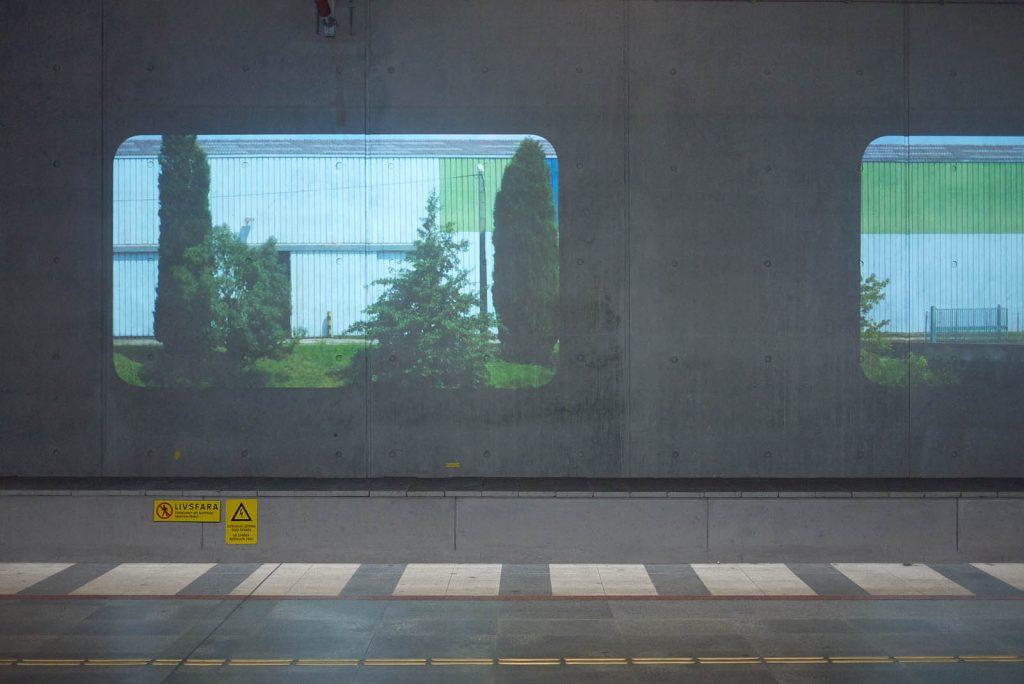 Projektion på en vägg av ett hus i korrugerad plåt med träd framför sig. Tania Ruiz Gutiérrez, Annorstädes