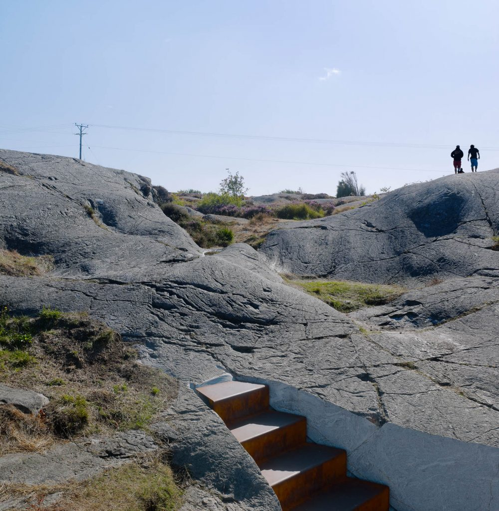 Klippor och ljung vid toppen av trappan. Leo Pettersson och Mia Fkih Mabrouk, Utan titel, 2013