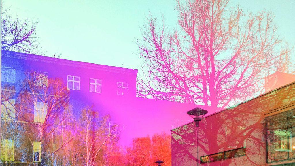Genom glaset syns rosa och lila reflektioner och speglingar av hus och träd. Torbjörn Johansson, Källan Är