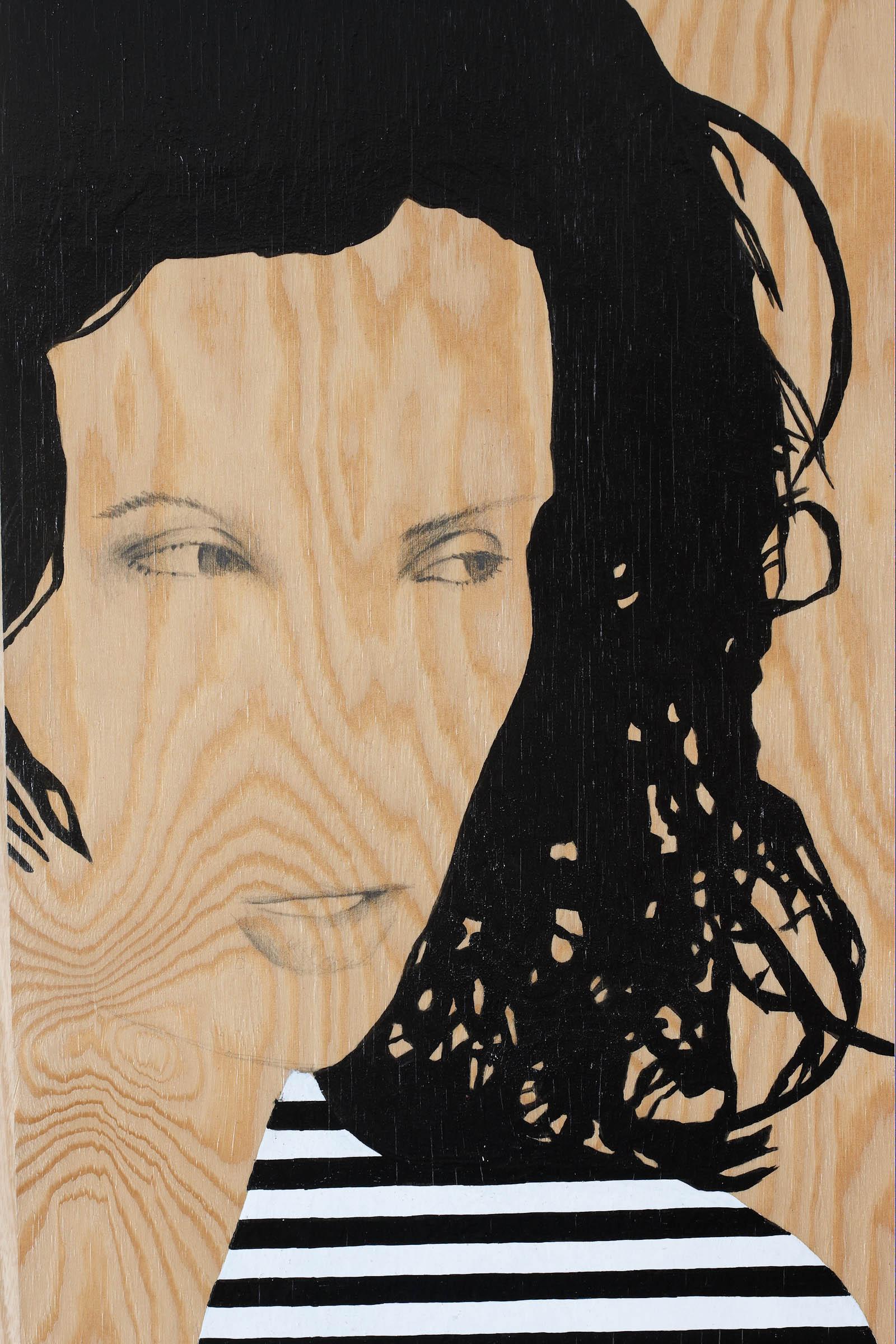 Målning på trä av kvinna i randig tröja som tittar åt sidan. Utsnitt med kvinnans ansikte. Robert Lucander, 13 målningar
