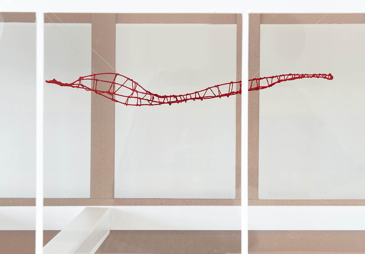 Modell av en av delarna i Livsformer och den tänkta konstruktionen, samt placeringen på Rättscentrum i Malmö. Helene Hortlund