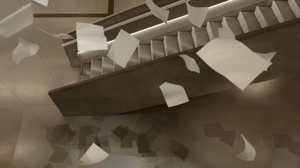Virvlande pappersark i luften ovanför trappan. Gabriel Lester, Twirl