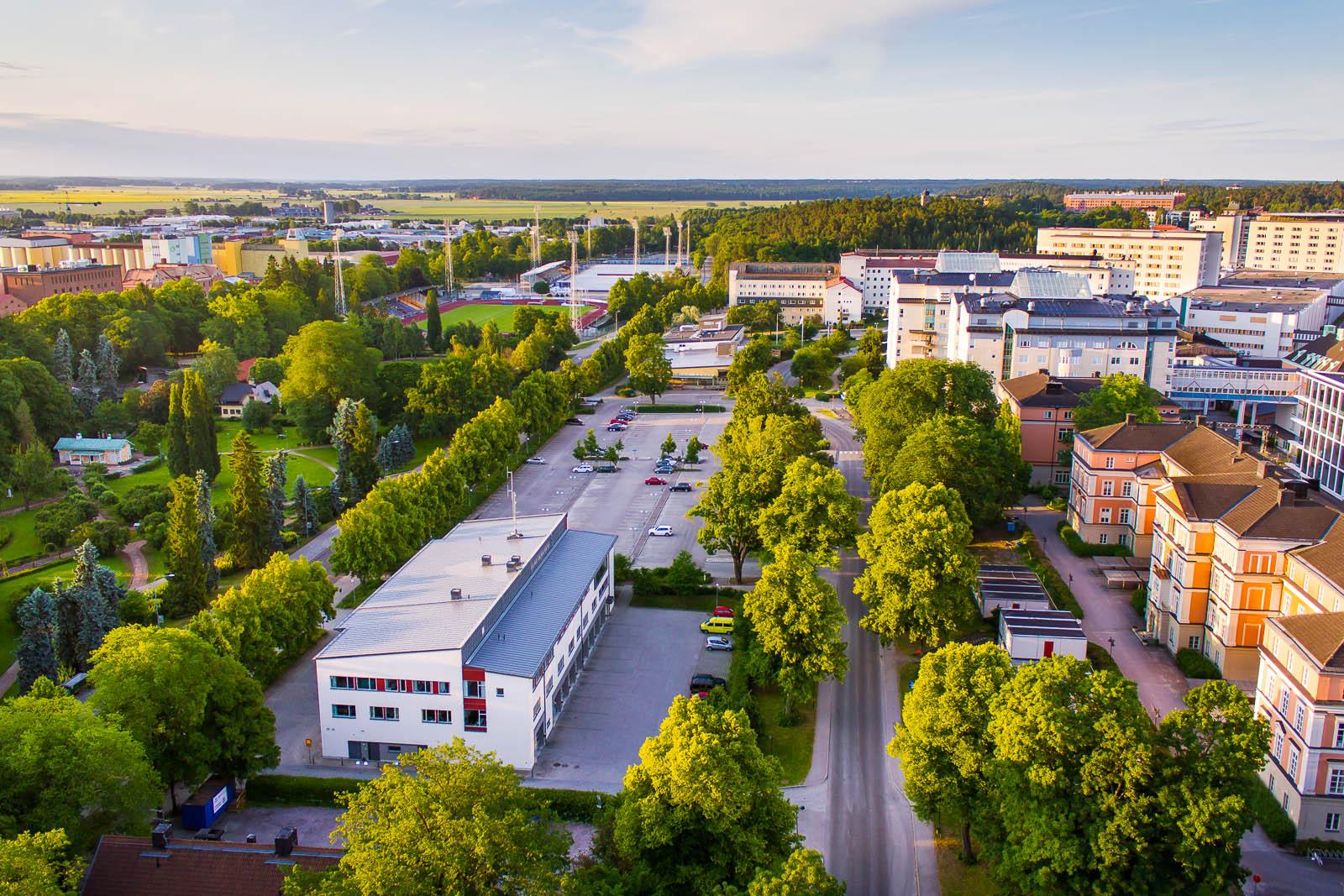 Akademiska sjukhuset i Uppsala. Bild tagen från luften, 2013