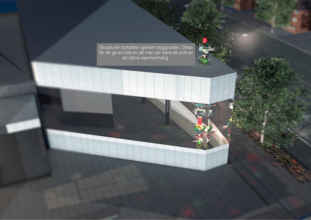 Datoranimerad bild. Genom glasväggen på den vita paviljongen syns pelaren av föremål sträcka sig från golv till tak, och vidare ovanför taket. Sirous Namazi, Rekonstruktion