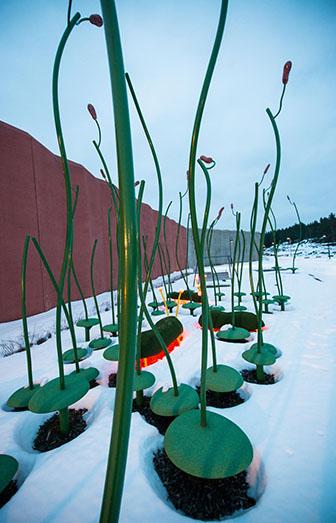 """""""Åker"""" av gröna stänglar med glasmosaikkolvar och snö på marken runtomkring. Thomas Nordström, Glänta, 2014"""