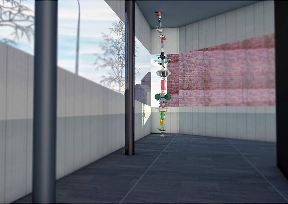 Datoranimerad bild. Inuti paviljongen är golvet svart och ena väggen av tegel. Vid glasväggen sträcker sig pelaren av udda föremål från golv till tak. Sirous Namazi, Rekonstruktion