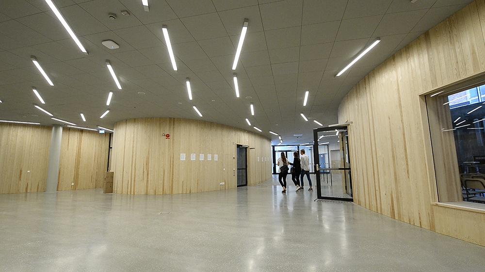 Några studenter går genom en korridor med träpanel och lysrör i taket. Jonas Dahlberg An imagined city