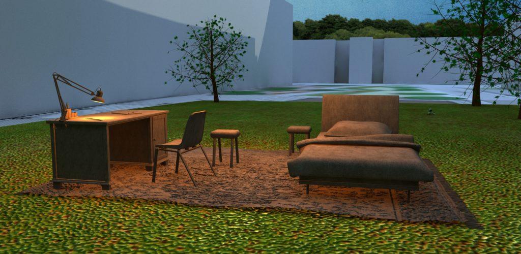 Skissbild. Bortom möblerna på gräsmattan ligger stora byggnader. Mandana Moghaddam, Vinden bär oss med sig