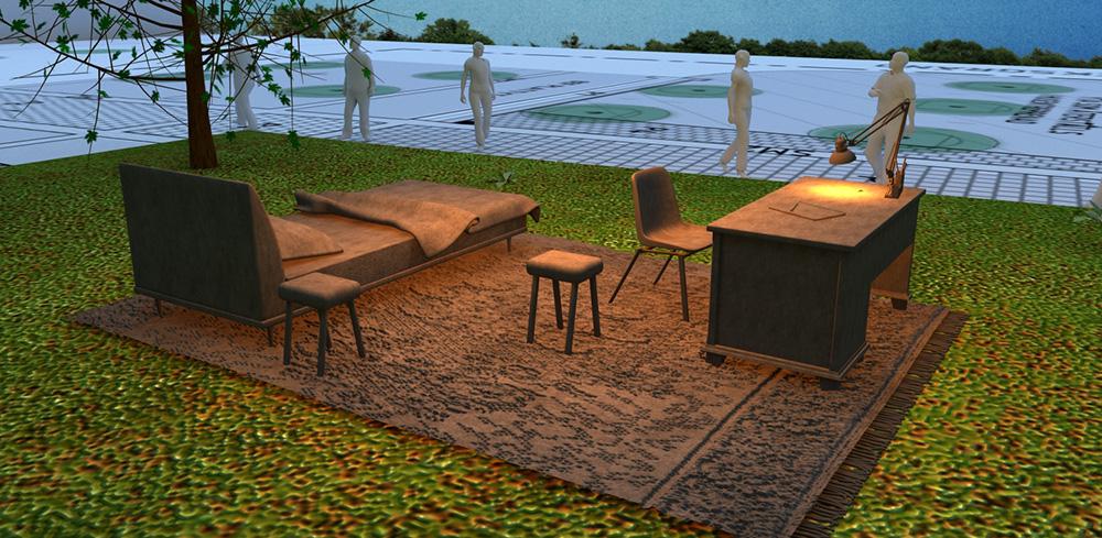 Skissbild av sängen, bordet och mattan på gräset. Det går folk på gångvägen bredvid. Mandana Moghaddam, Vinden bär oss med sig