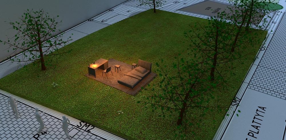Skissbild uppifrån. Möblerna och den tända lampan står på en gräsmatta omringad av gångvägar. Mandana Moghaddam, Vinden bär oss med si