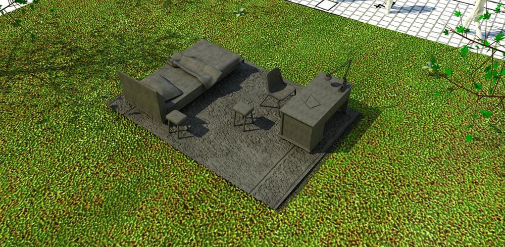 Skissbild. Betongmöbler på gräsmatta. Mandana Moghaddam, Vinden bär oss med sig