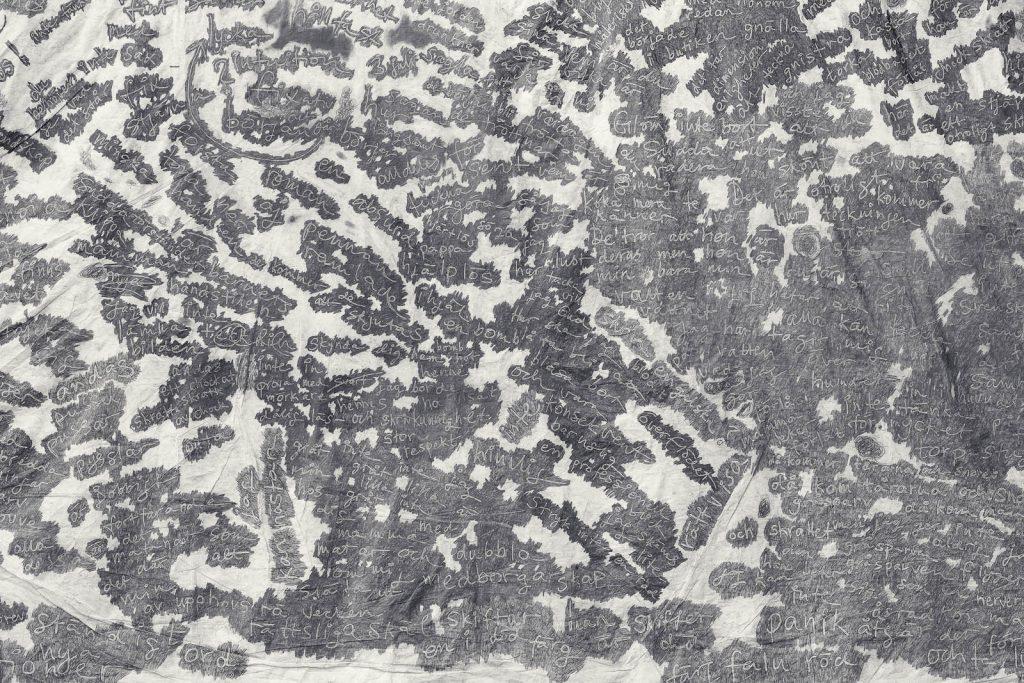 Detalj. Vit grundfärg, ord skrivna kors och tvärs i vitt med grå blyertsinramning kring varje ord. Zsuzsanna Gilice, pssst...