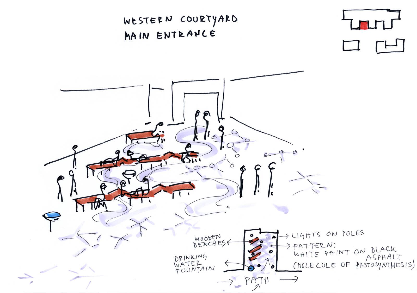 Skiss av ett klassrum. Marjetica Potrc och STEALTH, Fruit and Energy Farms in a Public Square.