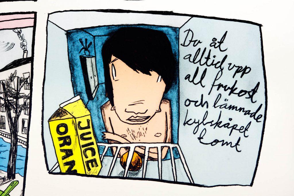 """Serieteckning. En sorgsen ung man tittar in i ett kylskåp. Samt texten: """"Du åt alltid upp all frukost och lämnade kylskåpet tomt."""" Daniel Novakovic, Jag tror jag är kär"""