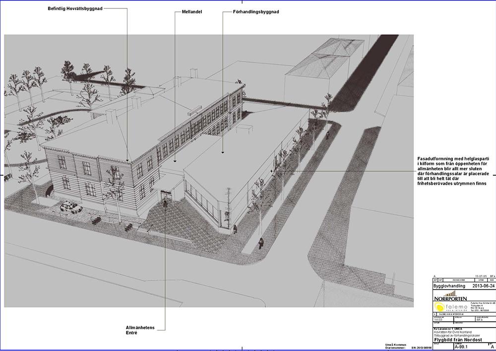 Skiss över hovrättsbyggnaden och den nybyggda paviljongen. Sirous Namazi, Rekonstruktion