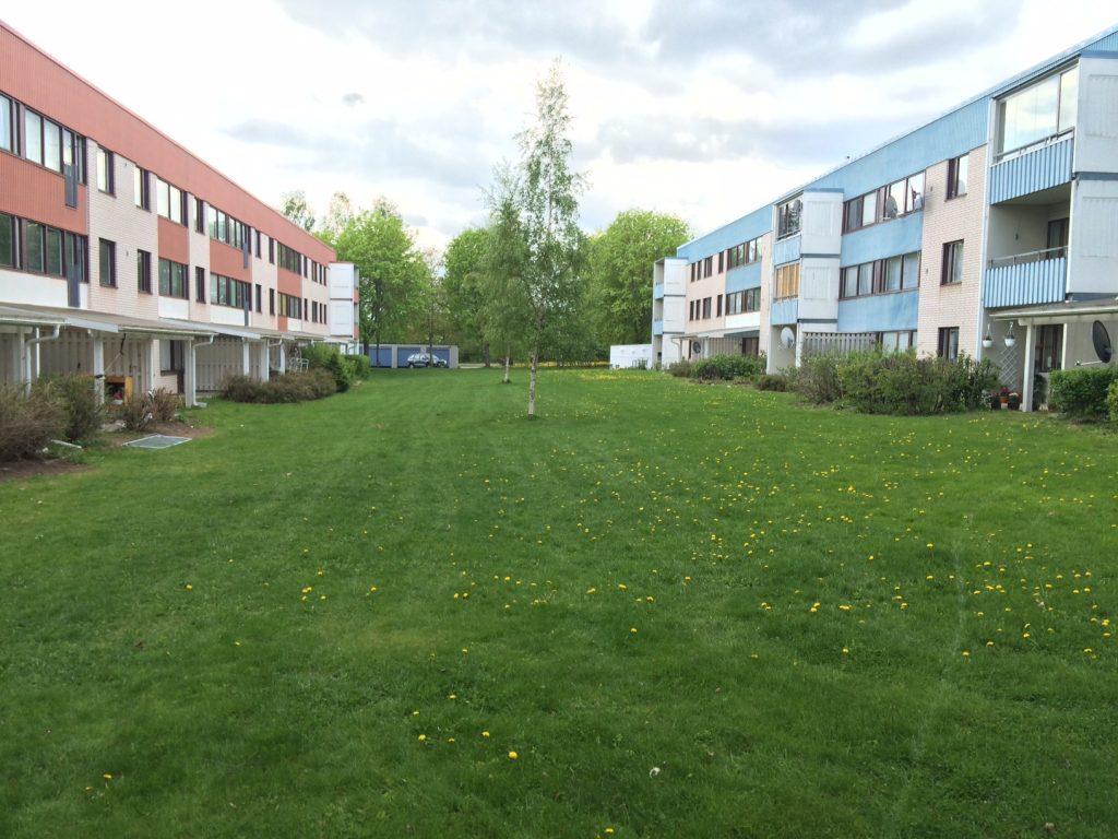 Låga flerfamiljshus med en grönskande gräsmatta mellan.