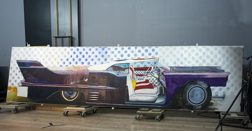 Målning av en cadillac. John E Franzén, Cadillac Eldorado