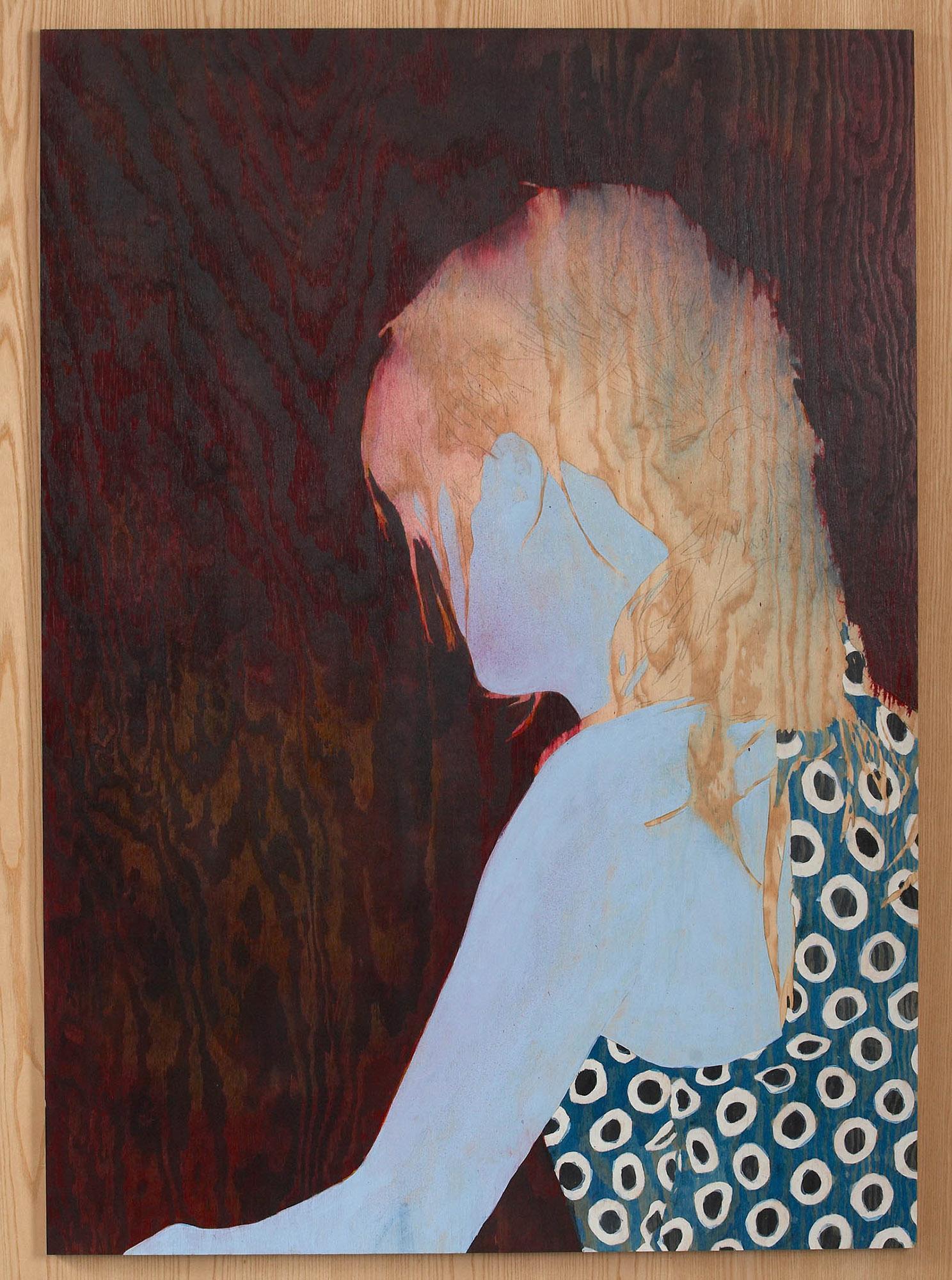Målning av en bortvänd kvinna med ljust hår och prickig klänning. Robert Lucander, 13 målningar