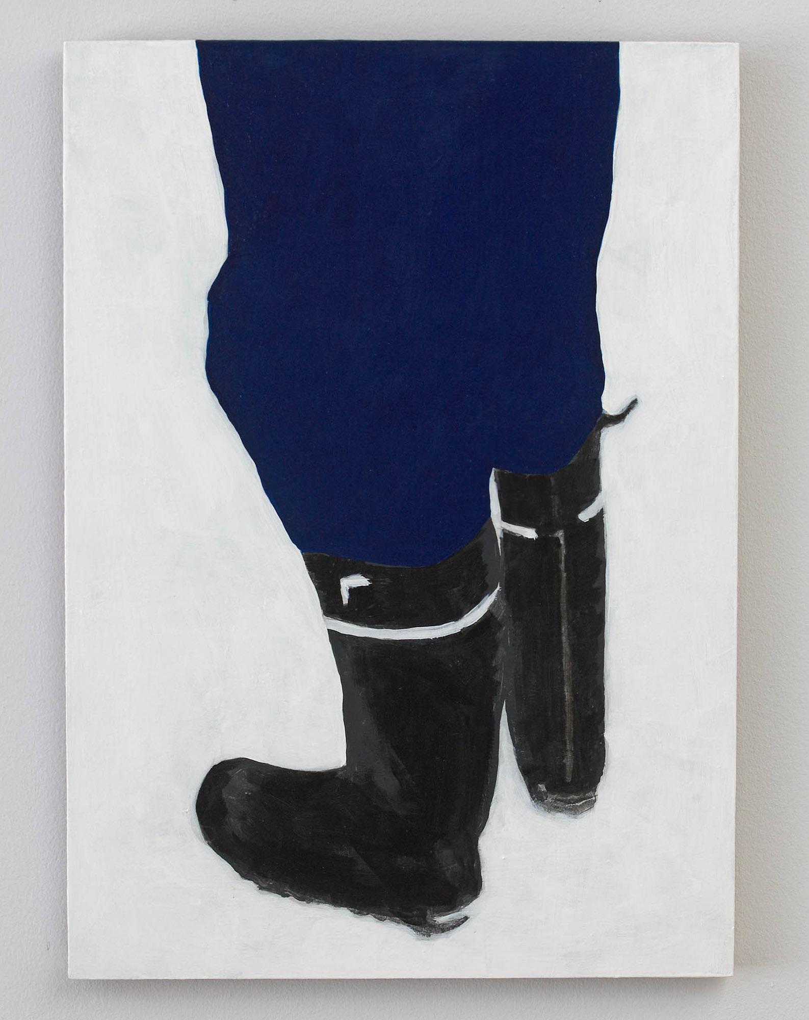 Målning med ett par blåklädda ben och svarta stövlar på vit grund. Robert Lucander, 13 målningar