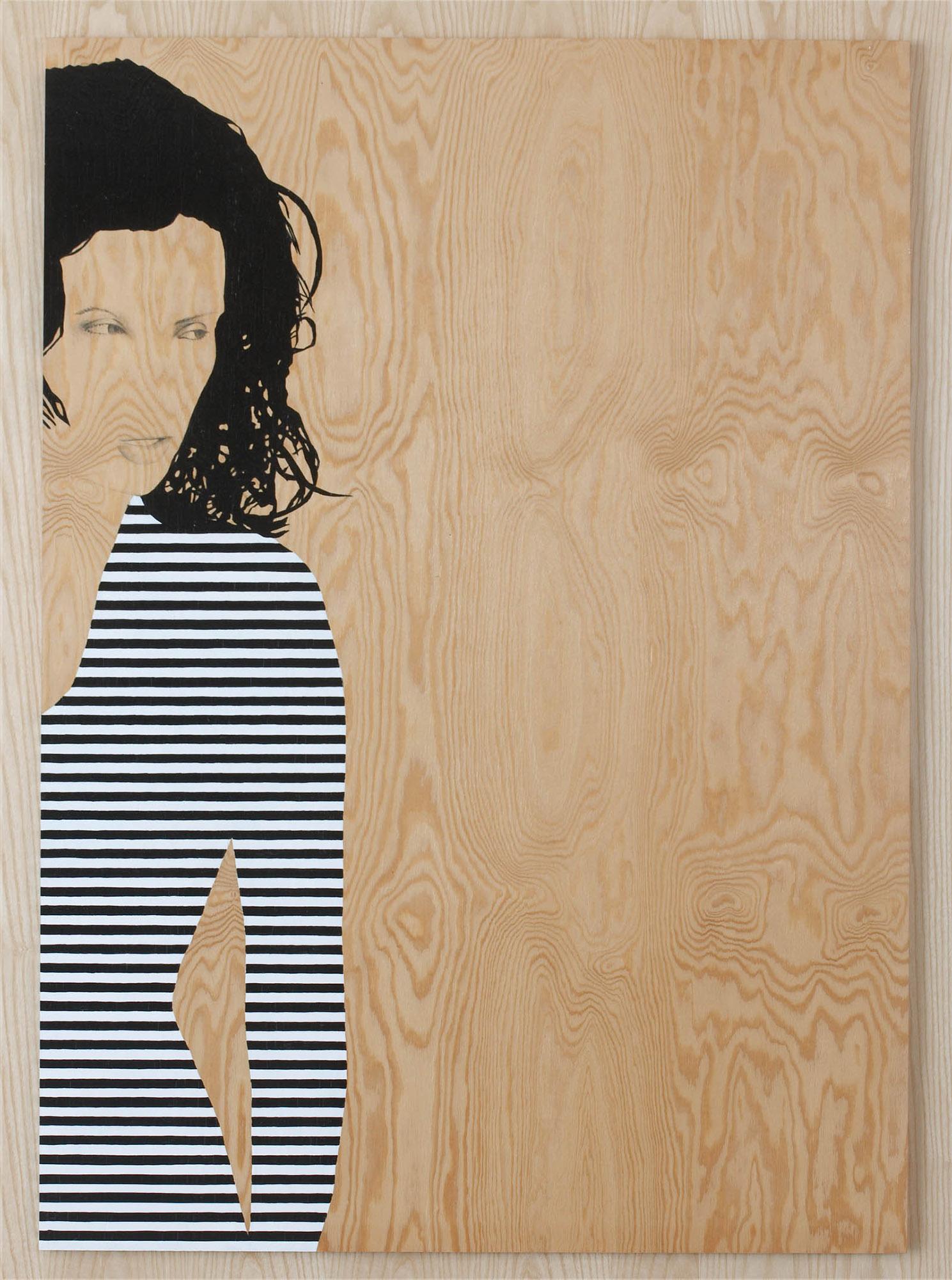 Målning på trä av en kvinna i randig tröja som tittar åt sidan. Robert Lucander, 13 målningar