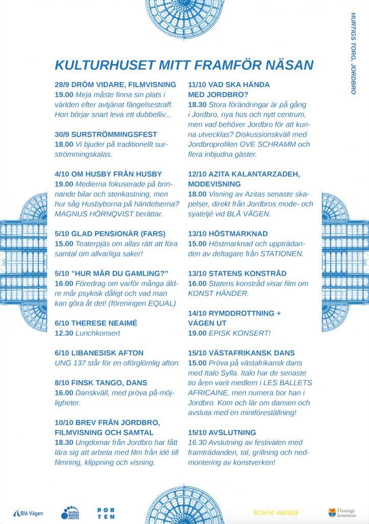 Blå affisch layoutad med detaljer av en genomskärningsbild från ett operahus.