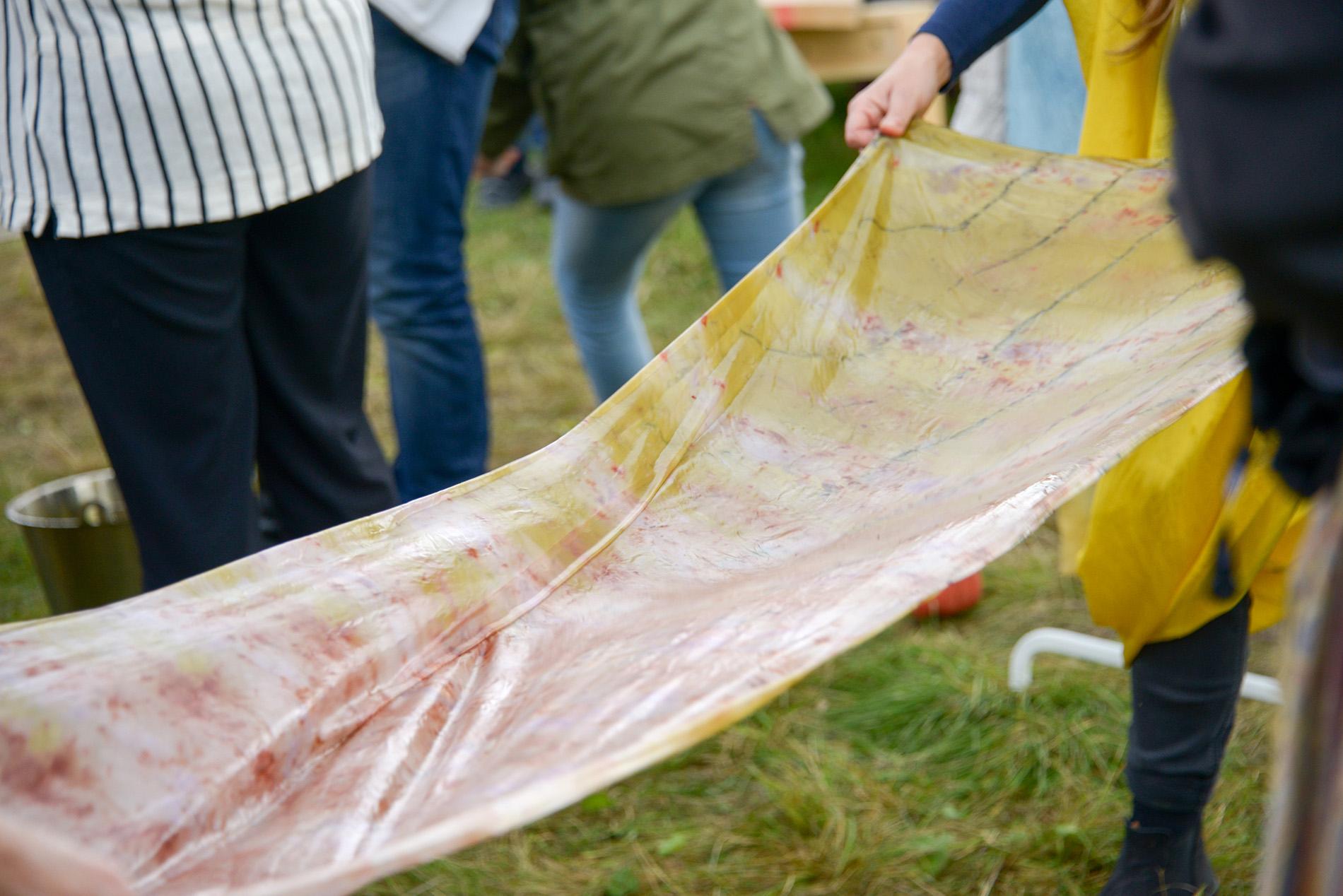 Rosa gult och vitt tyg som legat i blöt efter en textilfärgning