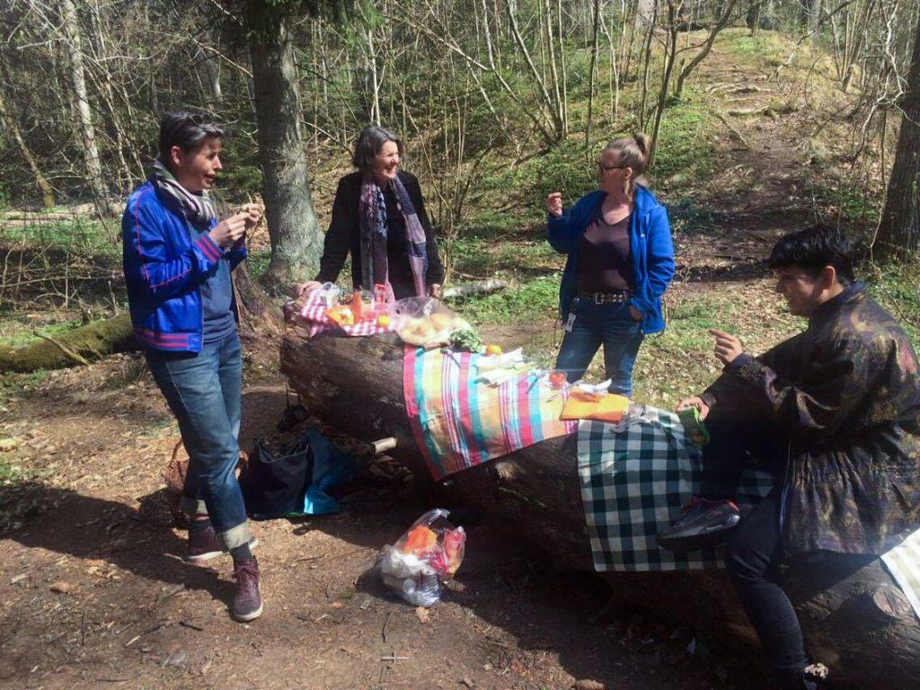Fyra personer i ett skogsparti har picknick på en stor stock.