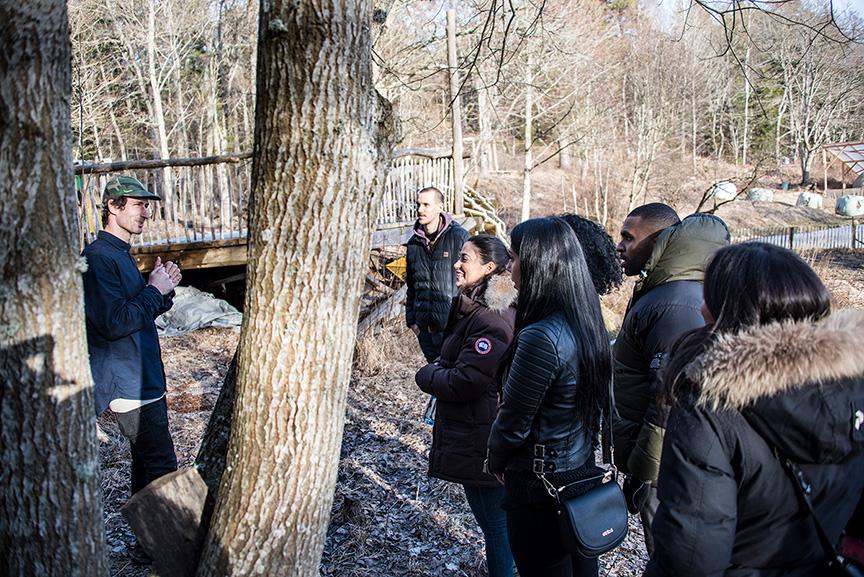 En man pratar med en grupp människor i en skogsdunge.