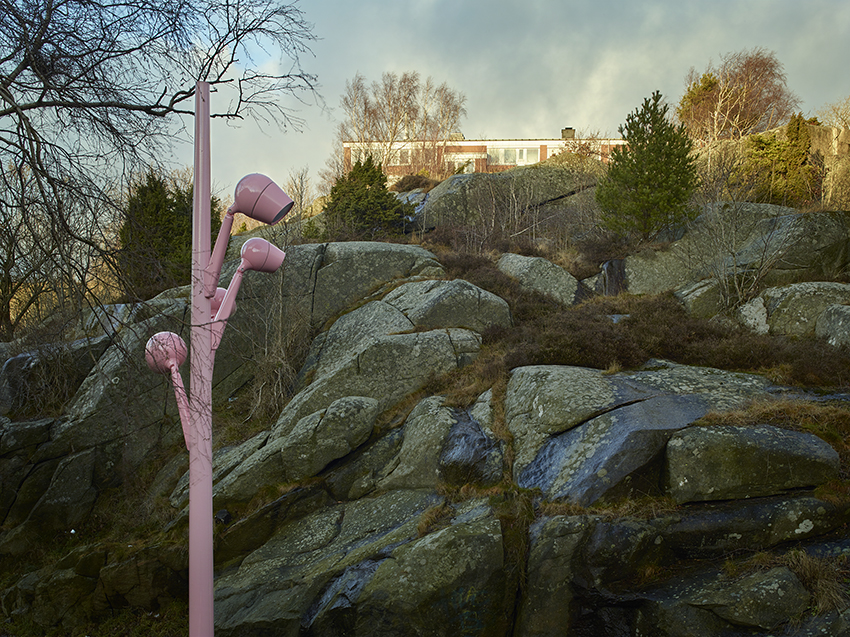 En av de rosa lyktorna i Tynnered