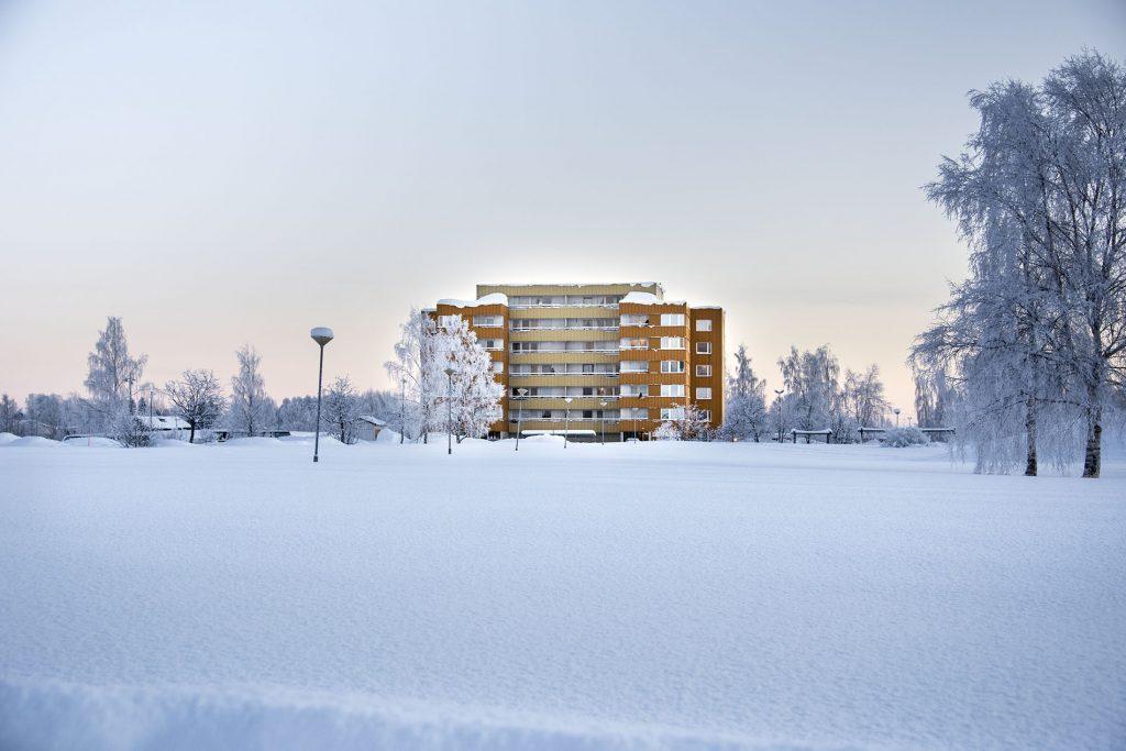 Vinterlandskap med gult hus