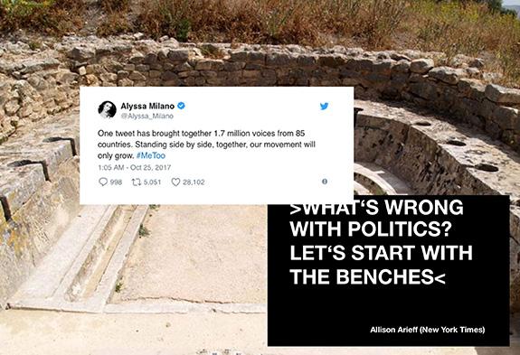 Skärmavbild med twitterinlägg poch bakgrundsbild från en ruin.