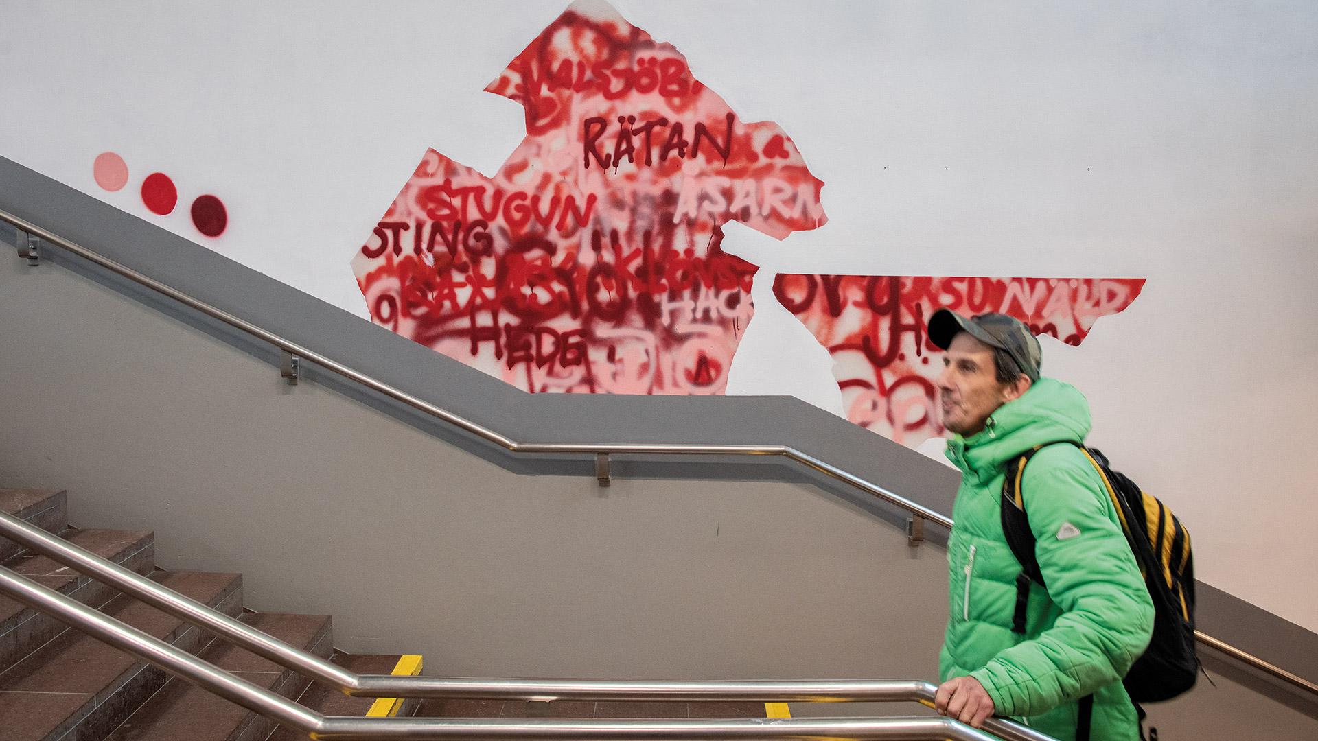 Väggmålning i en trappa