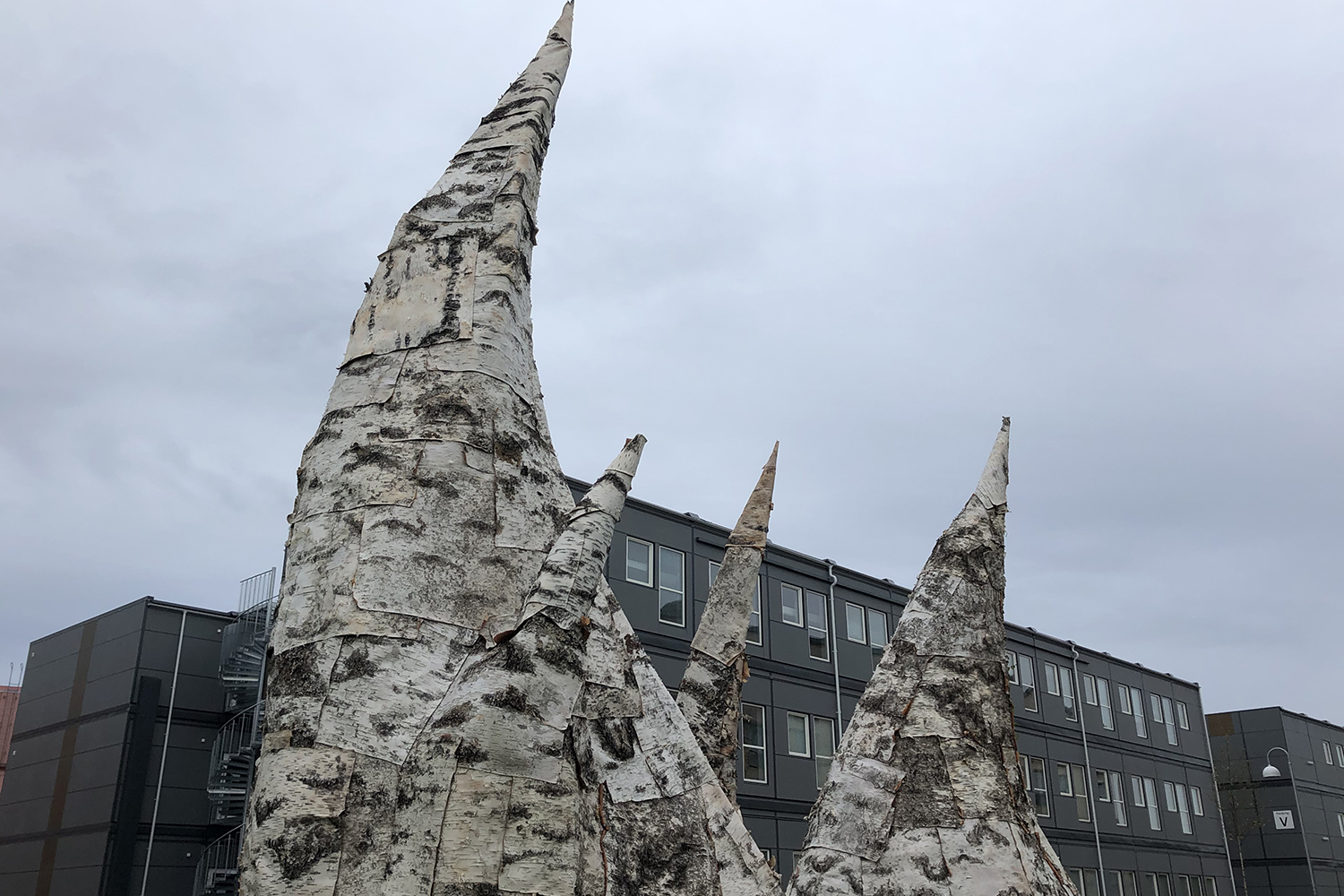 Sculptures made out of birch bark on a green lawn. There's a low building in the background.