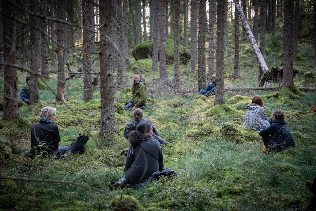 Personer som sitter utspridda i ett skogslandskap