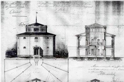 Gammaldags ritning av en byggnad i svartvitt.