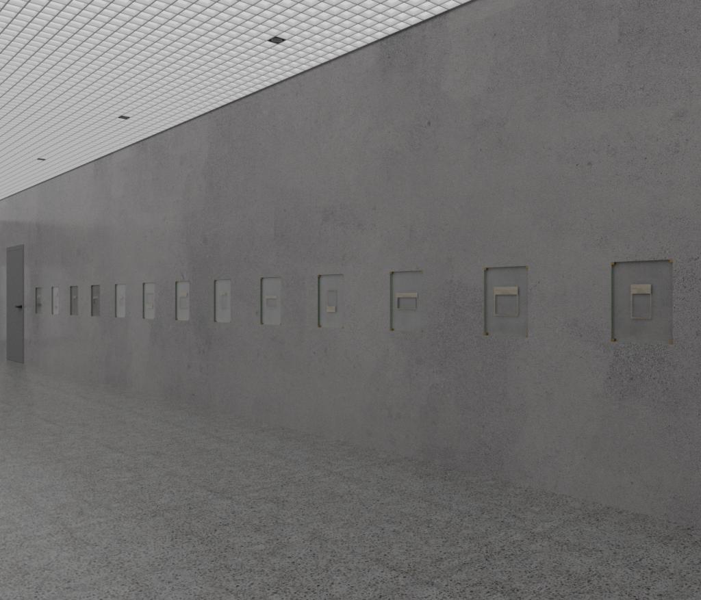 Korridor med gråa väggar och golv. I väggen finns hålrum som om tavlor hade ruttets där och tagits bort.
