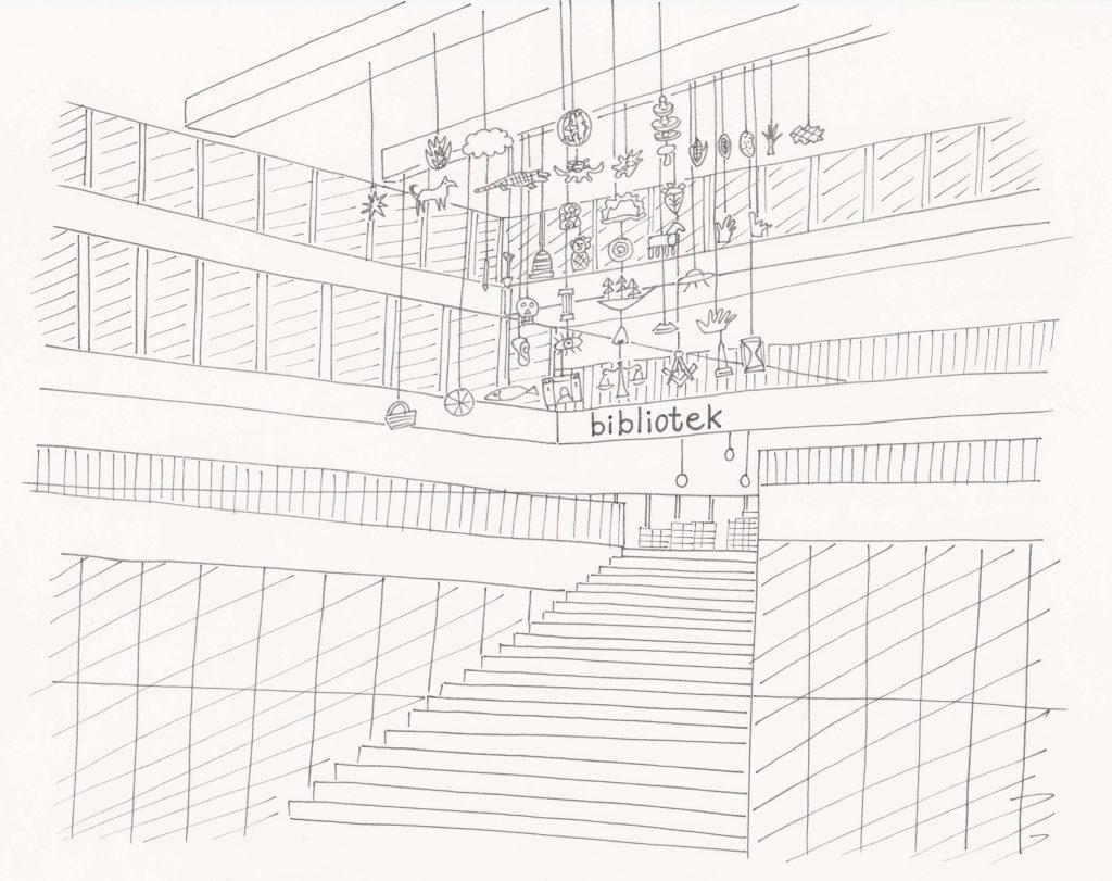 Svartvit illustration av bred trappa i en offentlig byggnad. I taket hänger en mobil på olika objekt.