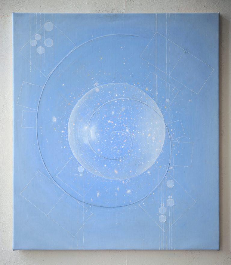 En ljusblå målning. I mitten en stor bubbla. En linje ringlar genom målningen.