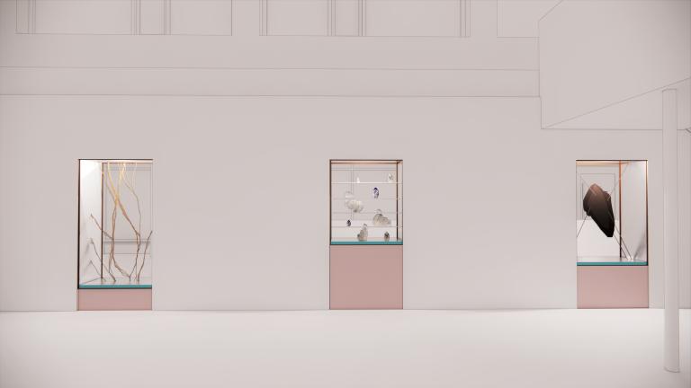 Tre kabinett med mineraler är inbyggda i en vägg.